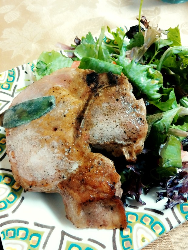 pan roasted spiced pork chops with sage and lemon
