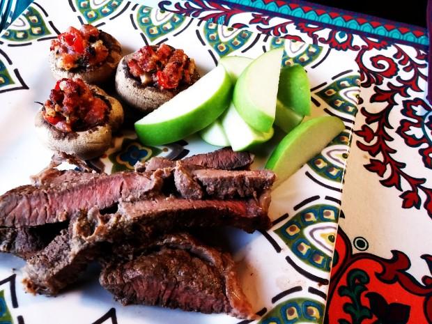 shoulder steak and stuffed mushrooms