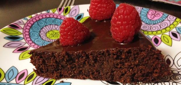 Chocolate Raspberry Ganache Cake Slice